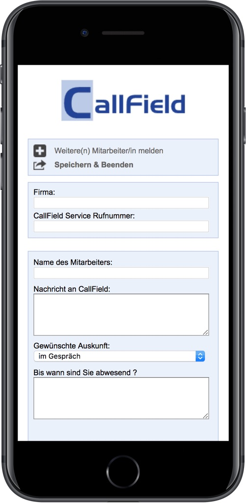Screenshot Callfield Out-of-Office-Tool
